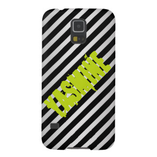 silver metal with diagonal black stripes with name galaxy s5 cases