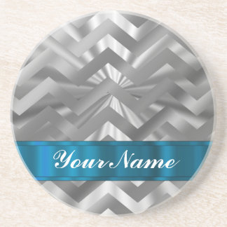Silver metalic  looking chevron coaster