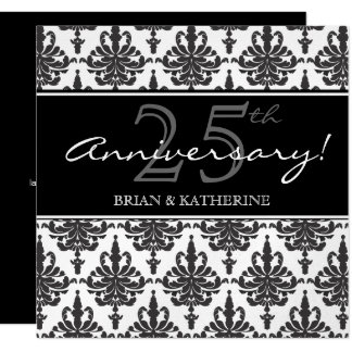 Silver Metallic 25th Wedding Anniversary Party Card