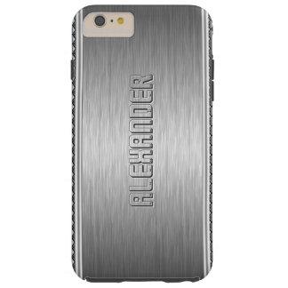 Silver Metallic Brushed Aluminum Geometric Accents Tough iPhone 6 Plus Case