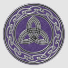 Silver Metallic Celtic Wheel Knots and Trinity Classic Round Sticker