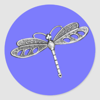 Silver Metallic Dragonfly Classic Round Sticker