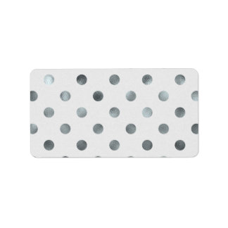 Silver Metallic Faux Foil Large Polka Dot Grey