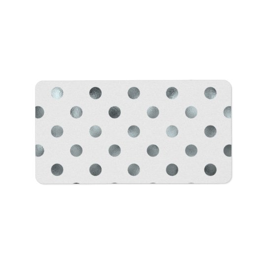 Silver Metallic Faux Foil Large Polka Dot Grey Label