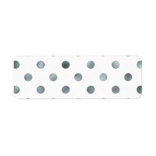 Silver Metallic Faux Foil Polka Dot White