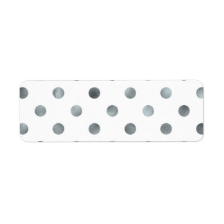 Silver Metallic Faux Foil Polka Dot White