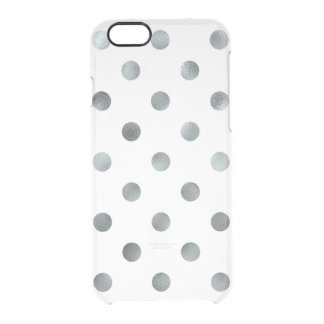 Silver Metallic Faux Foil Polka Dot White Clear iPhone 6/6S Case