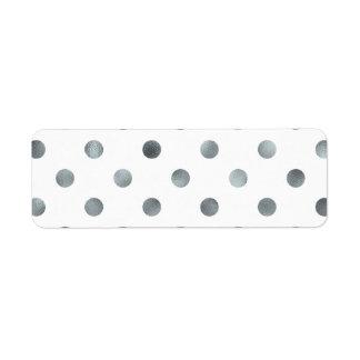 Silver Metallic Faux Foil Polka Dot White Return Address Label