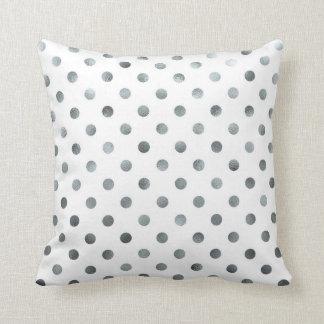 Silver Metallic Faux Foil Small Polka Dot White Throw Pillow