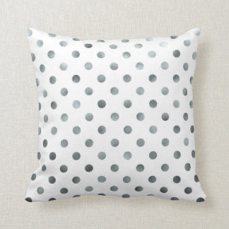 Silver Metallic Faux Foil Small Polka Dot White Throw Pillows