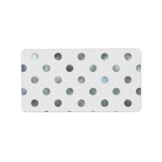 Silver Metallic Foil Large Polka Dot Grey Address Label
