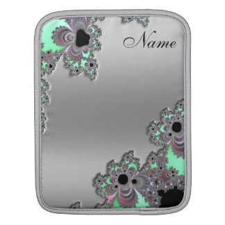 Silver Metallic Fractal Personalized iPad Sleeve
