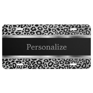 Silver Metallic Leopard Animal Print | Personalize License Plate