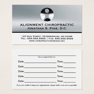 Silver Metallic-Look Chiropractic Appointment Card