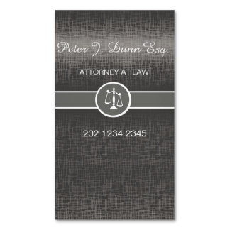 Silver Metallic Professional Lawyer Attorney Magnetic Business Card