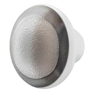 Silver Metallic Rings Ceramic Knob