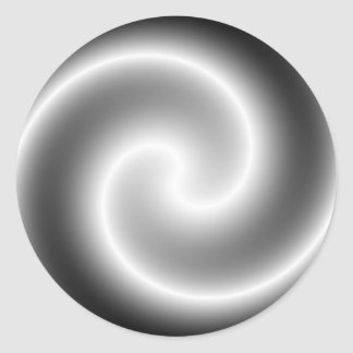 Silver Metallic Swirl Round Sticker