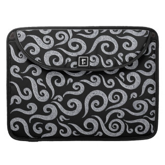 Silver Metallic Swirls On Black Sleeve For MacBook Pro