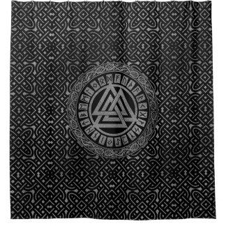 Silver Metallic Valknut Symbol on Celtic Pattern