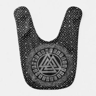 Silver Metallic Valknut Symbol on Celtic Pattern Bib