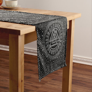 Silver Metallic Valknut Symbol on Celtic Pattern Short Table Runner