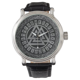 Silver Metallic Valknut Symbol on Celtic Pattern Watch