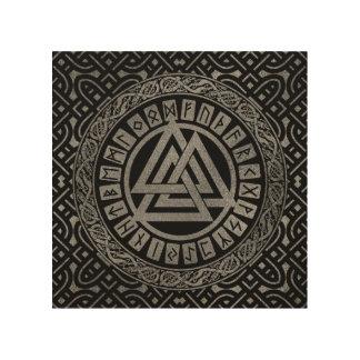 Silver Metallic Valknut Symbol on Celtic Pattern Wood Wall Decor