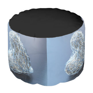 Silver Metallic Wire Heart Pouf