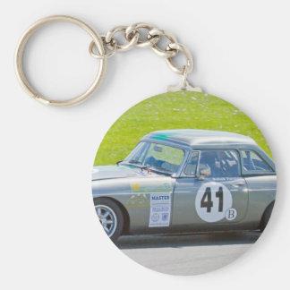 Silver MG racing car Key Chain