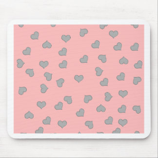 SILVER MINI HEARTS ON PINK MOUSE PAD