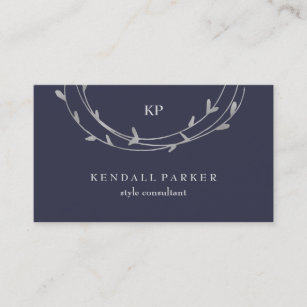 Wreath business cards business card printing zazzle ca silver minimal modern circles on midnight blue business card reheart Images