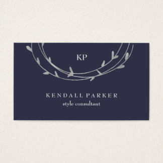 Silver Minimal Modern Circles on Midnight Blue Business Card