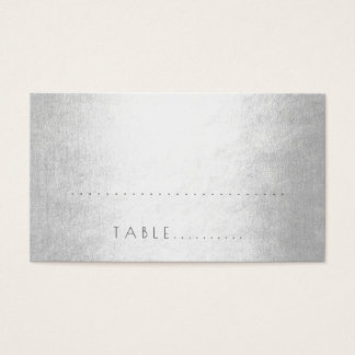 Silver Minimalism Wedding Escort Place Pack Business Card