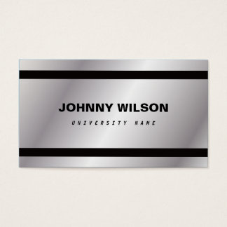 Silver Minimalist Graduate Student Business Card