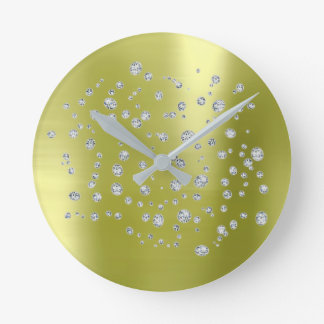 Silver Mint Greenly Swarovski Crystal Round Clock