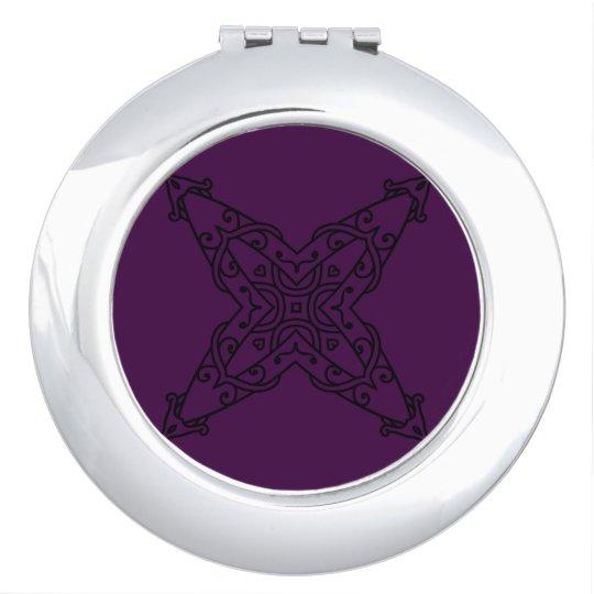 Silver mirror with mandala art travel mirror