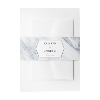 Silver Modern | Marble Wedding Bellyband Invitation Belly Band