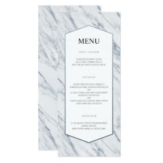 Silver Modern   Marble Wedding Menu Card