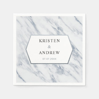 Silver Modern | Marble Wedding Napkins Paper Napkins
