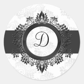 silver monogram envelope seal stickers