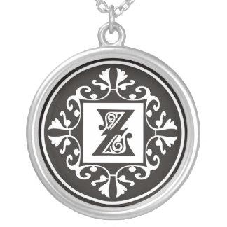 Silver Monogram Pendant Necklaces::Initial Z