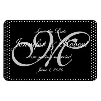 Silver Monogram Polka Dots Wedding Save the Date Rectangular Photo Magnet