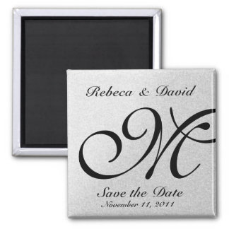 Silver Monogram Save the Date Square Magnet