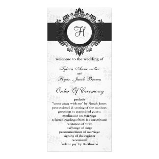 silver monogram Wedding program Rack Card Design