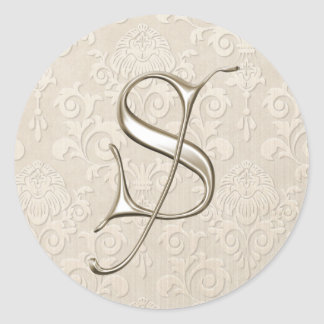 Silver Monogram Wedding Stickers - letter S