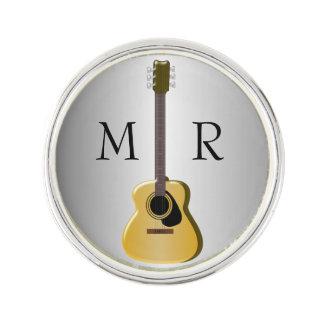 Silver Monogrammed Acoustic Guitar Lapel Pin