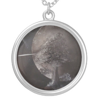 Silver Moon And Tree By Bernardo Perales Silver Plated Necklace