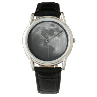 Silver, Moon Clock Watch
