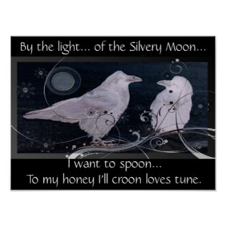Silver Moon Poster with Ravens