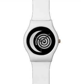 Silver Moon Spiral on black Watches